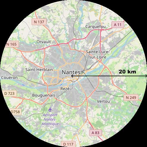 carte zone 20 km autour de Nantes